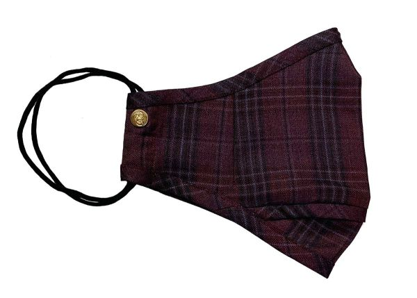 Burgundy Red Plaid Wool Mask