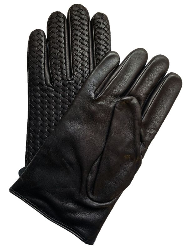 Black Woven Lambskin Gloves (XL)