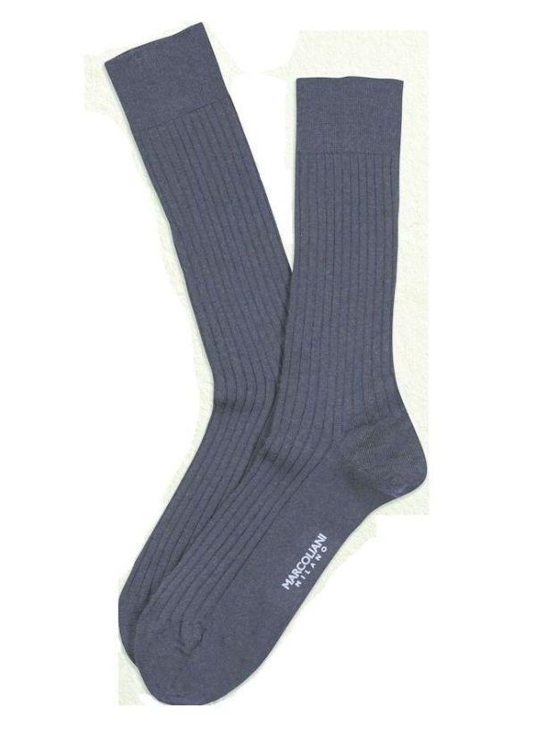 Indigo Blue Merino Ribbed Over the Calf Dress Socks