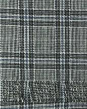 White Black Cobalt Tweed Cashmere Scarf
