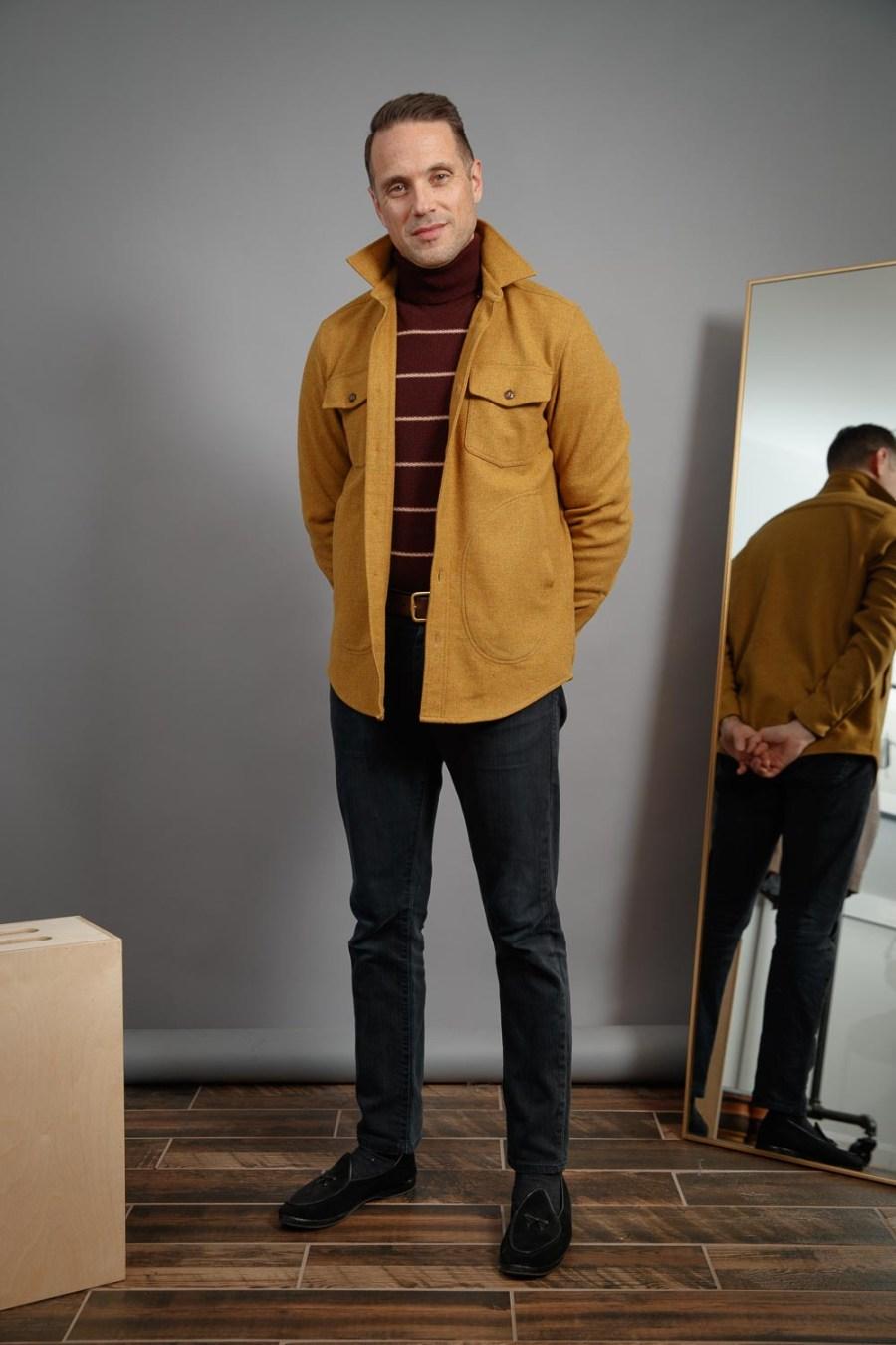 Winter-style-ideas-for-men-2021-burgundy-turtleneck-mens-shacket-black-jeans-belgian-shoes-nyc