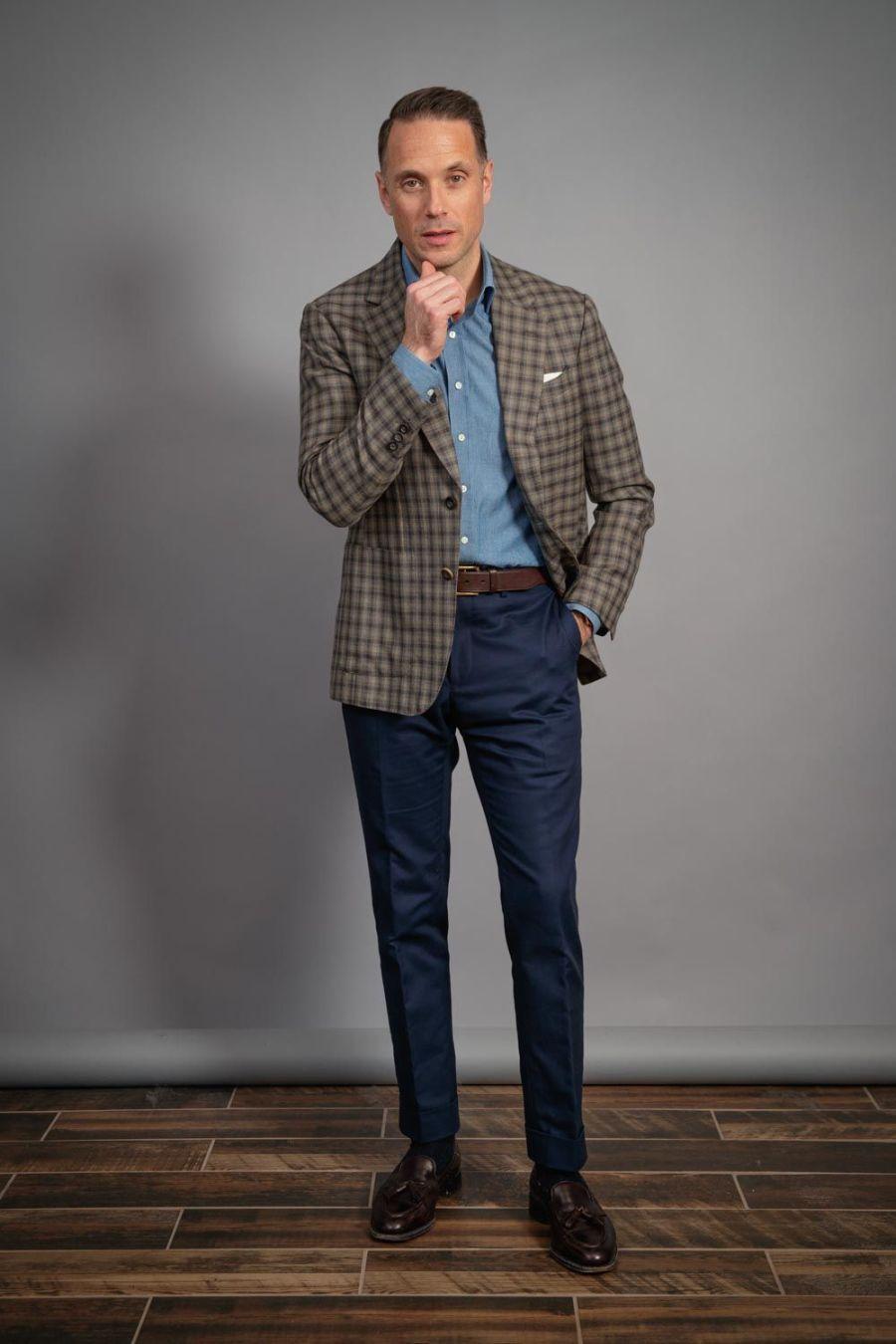 gun-club-jacket-for-men-tassel-loafers-denim-shirt-winter-capsule-wardrobe