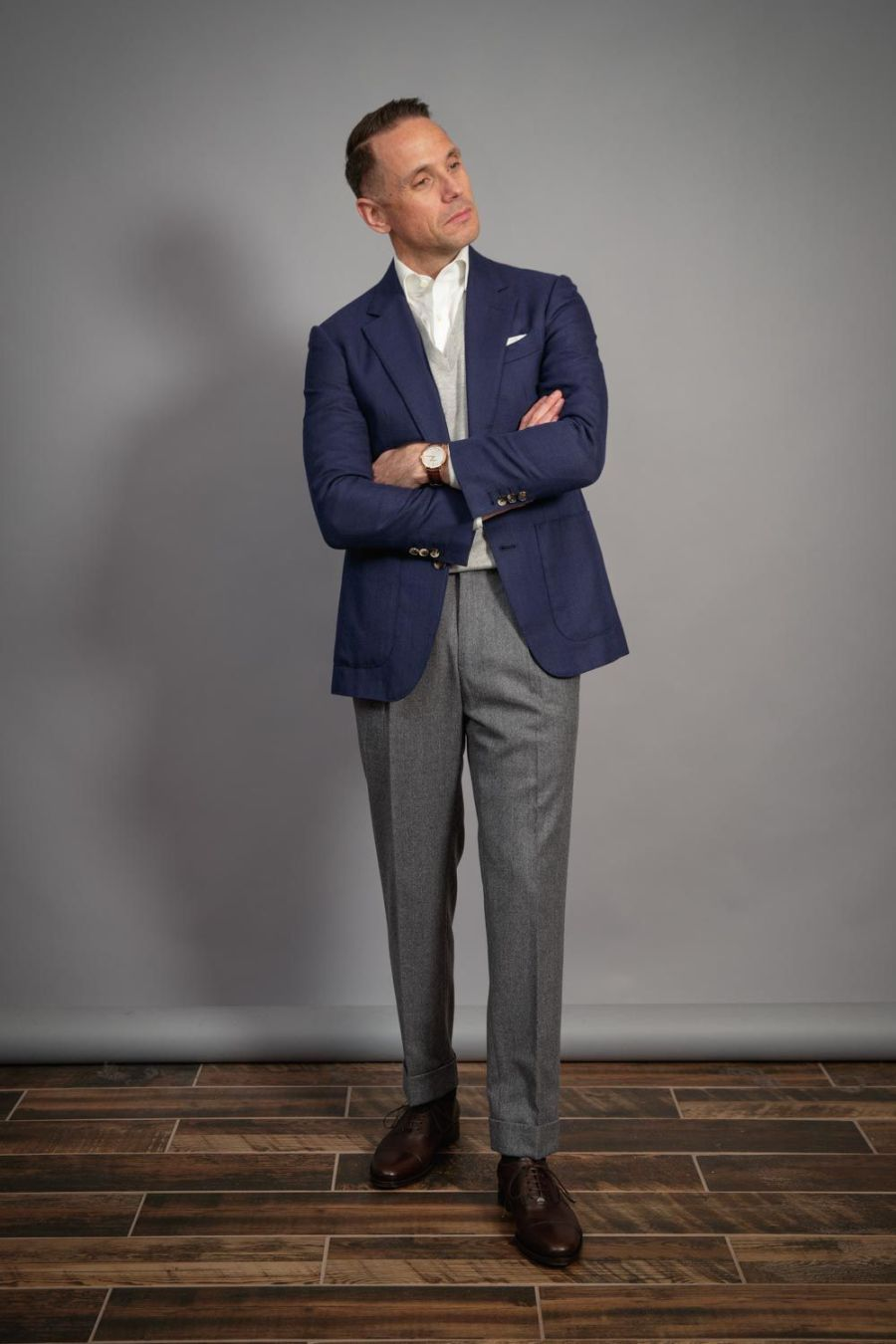menswear-uniform-blue-blazer-grey-pants-brown-shoes-michael-andrews