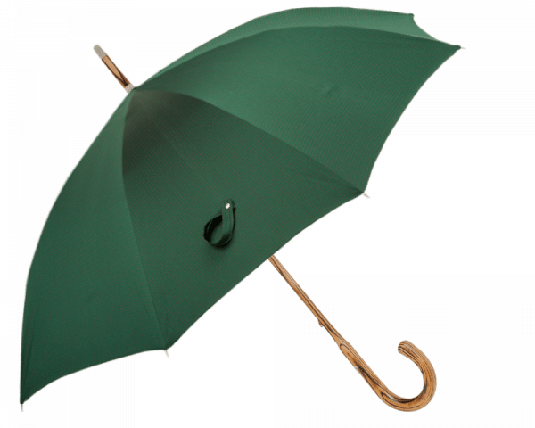 Forest Green, Red Dots Umbrella with Hickory Handle