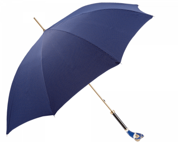 """Navy, Gold Dots Umbrella with Blue Enameled """"Nemo"""" Handle"""