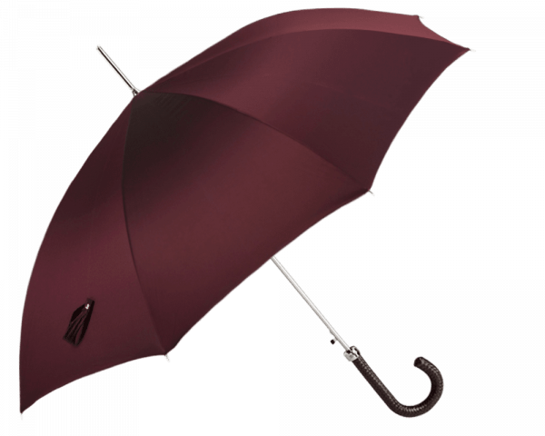 Burgundy Solid Umbrella with Black Braided Leather Handle