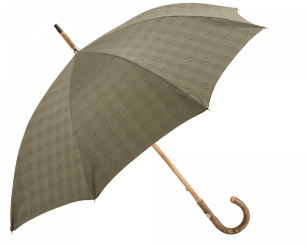 Brown Glen Check Umbrella with Solid Ash Shaft & Knob End
