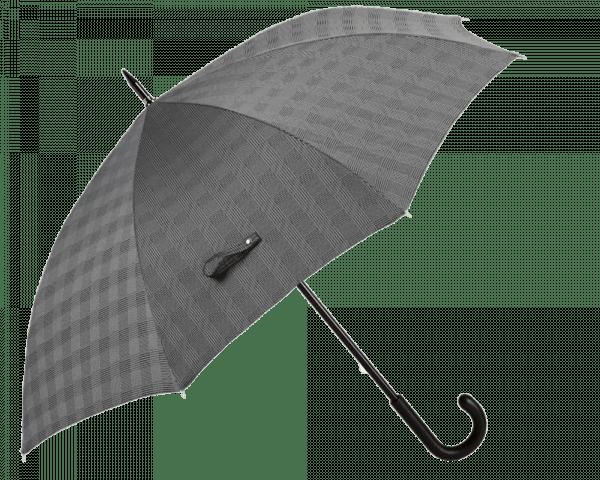 Grey Milford Glen Plaid Umbrella with Black Padded Leather Handle