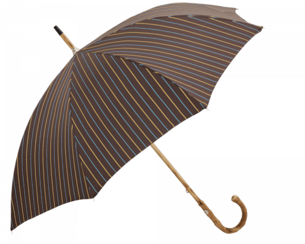 Brown with Yellow Stripe Umbrella with Congo Wooden Handle