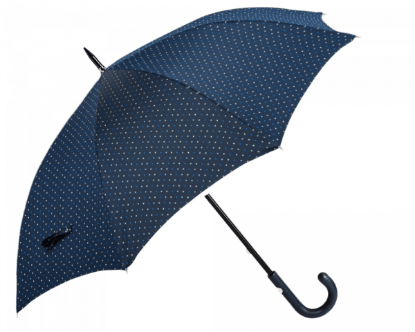 Blue Dot Umbrella with Navy Padded Leather Handle