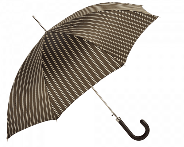 Brown, Beige Double Stripe Umbrella with Brown Stitched Leather Handle