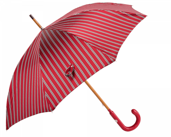 Red Classic Regimental Stripe Umbrella with Red Padded Leather Handle