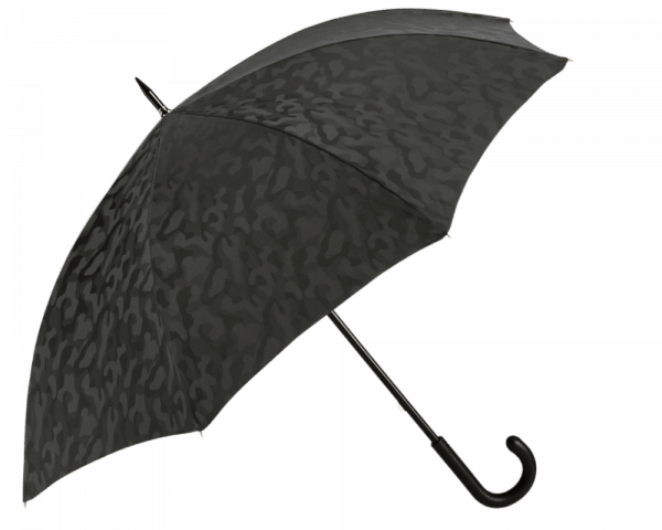 Black Camouflage Umbrella with Black Padded Leather Handle
