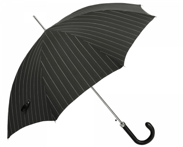 Black & White Pinstripe Umbrella with Black Padded Leather Handle