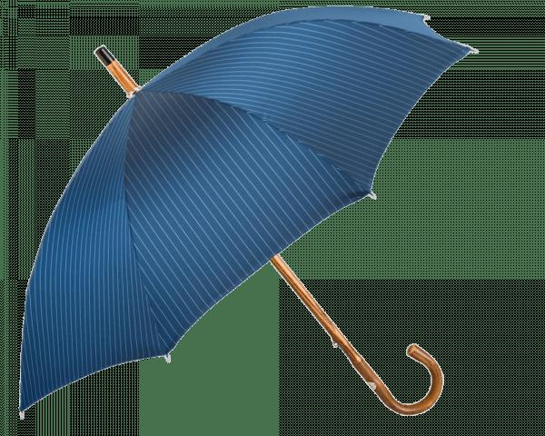 Medium Blue Pinstripe Umbrella with Solid Chestnut Handle