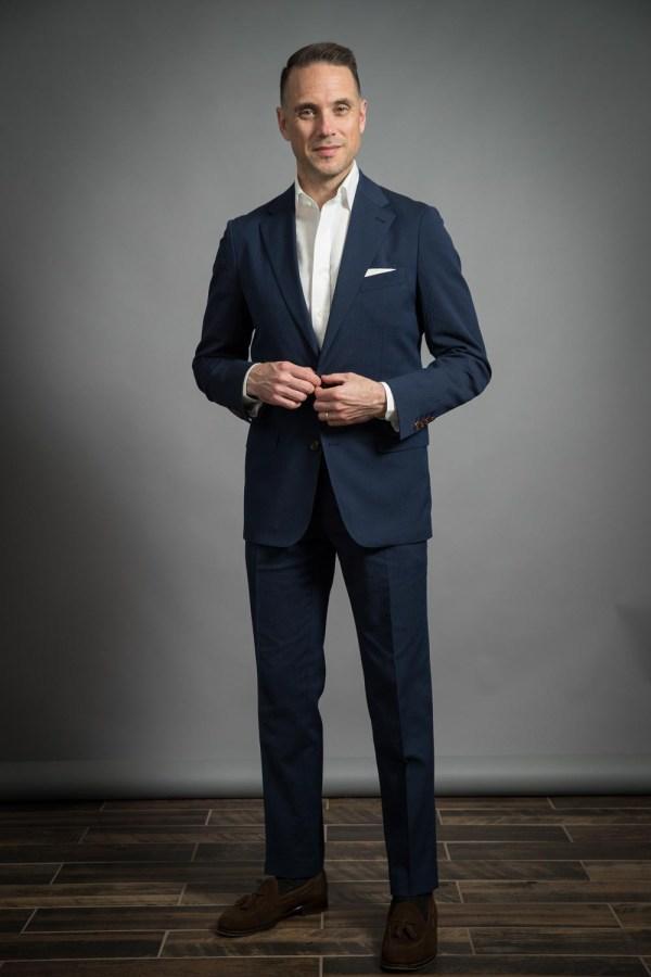 navy seersucker suit
