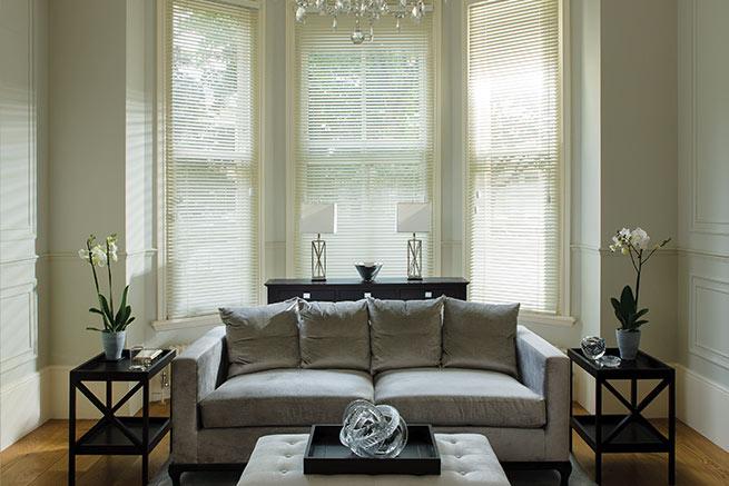 Soft white PVC venetian blinds