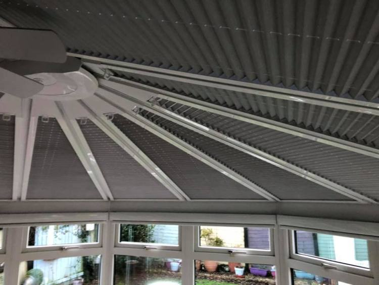 Perfect fit roof blinds in grey with senses roller blinds