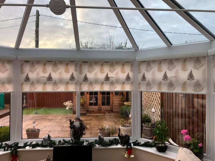 Senses roller blinds fitted in a conservatory