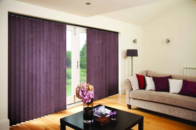 Chenille Mulberry vertical blind