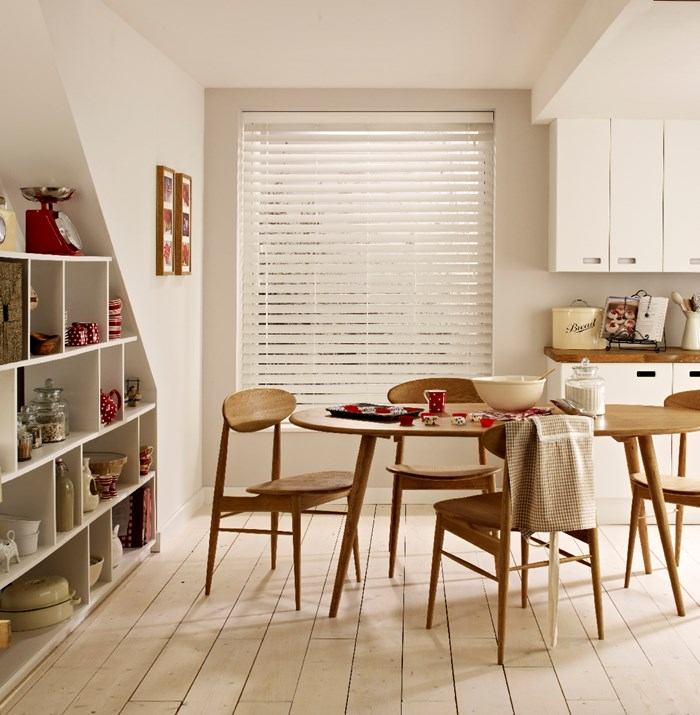 Pure white wooden venetian blind