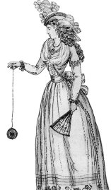"A 1791 illustration of a woman playing with an early version of the yo-yo, then known as a ""bandalore"" Public Domain, https://commons.wikimedia.org/w/index.php?curid=594119"