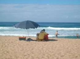 Lifeguards and holidaymakers on Bazley Beach