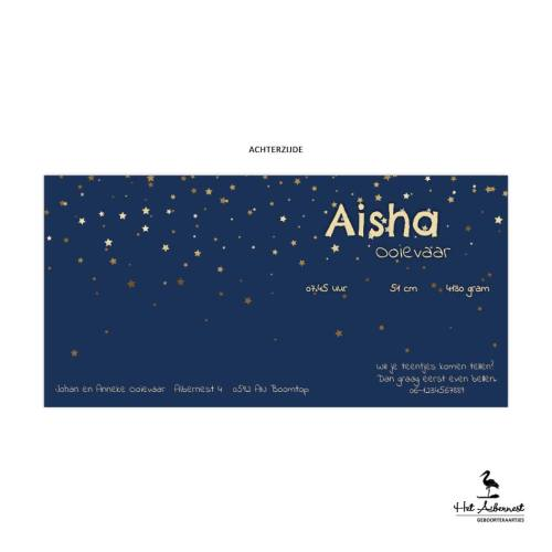 Aisha, liggende kaart, donkerblauw met sterrenhemel
