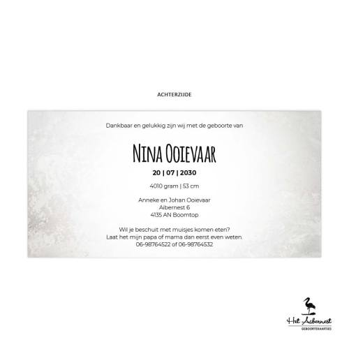Nina_liggende kaart, grijs gemeleerde achtergrond met baby sillouet