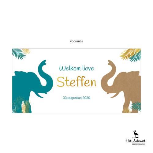 Steffen_liggende kaart, kraftlook met olifant jungle thema