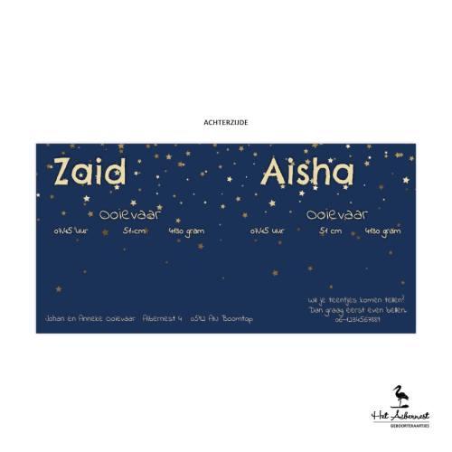 Zaid en Aisha, liggende kaart, donkerblauw met sterrenhemel