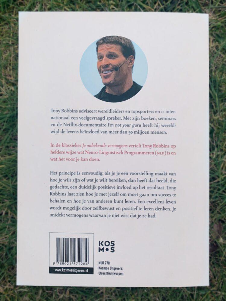 Het Gezinsleven - Lifestyle - Hobby's - Persoonlijke ontwikkeling, boeken top 5 - Achterkant boek Je ongekende vermogens (NLP)