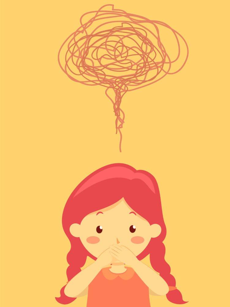 Het Gezinsleven - Moeder en Kind - Kinderen 1-4 jaar - Stotteren, wat kun je doen als je kind stottert? - Illustratie van een meisje wat door stotteren niet meer durft te praten