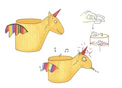 Tekening2: Opruimen stimuleren door interactieve vuilbak