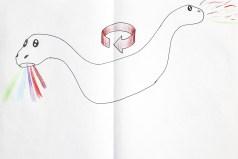 Tekening2: Machine draait en spuugt confetti en regenbogen(licht)