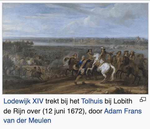 1672 juni Lod XIV trekt bij Lobith Rijn over