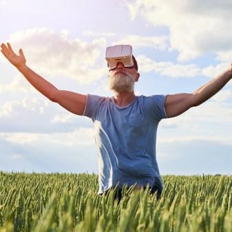 Elderly man using 3D glasses