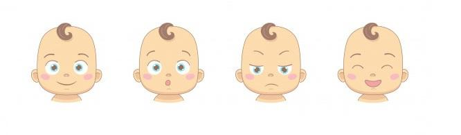Emoties van een baby. Van boos naar glimlach