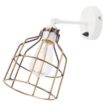 No.15 Wandlamp wit met bronzen kooi