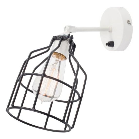No.15 Wandlamp wit met zwarte kooi