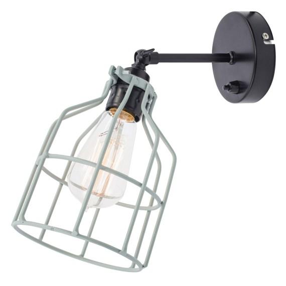 No.15 Wandlamp zwart met grijs-groene kooi