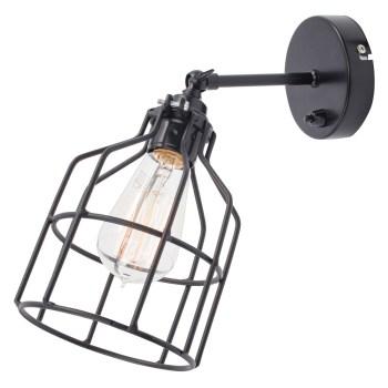 No.15 Wandlamp zwart met zwarte kooi