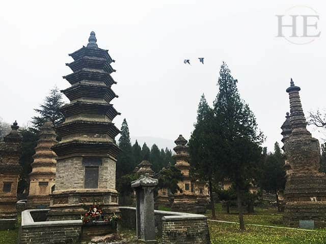 towering pagodas on a rainy day at the shaolin temple in china