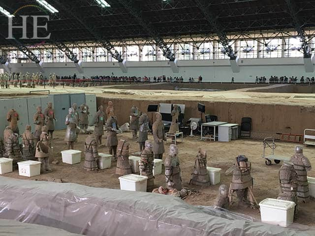 """soldier hospital"" where statues are put back together at the terracotta army pits in xi'an china"