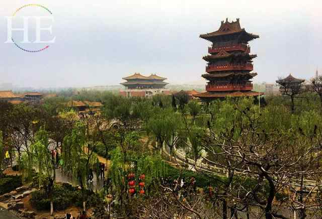 stunning view of pagodas surrounded by lush green trees at kaifeng city china