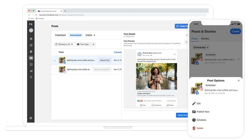 Facebook en Instagramverhalen plaatsen en plannen