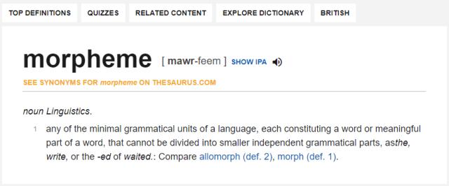 Dictionary.com - Morpheme