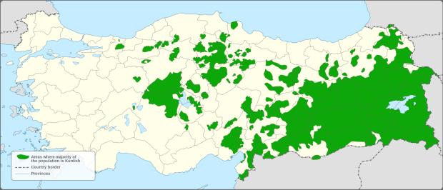 Районы Турции с курдским большинством