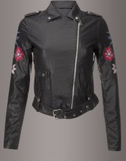 Sugar Magnolia Embroidered Moto Jacket