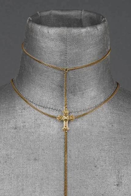 Regal Rose Throne Gold Lariat Chain Choker